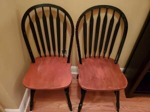 "2 vintage accent chairs, seat is 17"", back is 38"" tall, 18"" across, 18"" front to back"