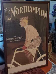 "A vintage framed poster of the Northampton cycle co, 40"" x 26"""