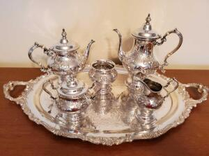 Fabulous Gorham sterling silver coffee and tea service with beautiful silver plated 29x18 tray.
