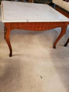French Provencal marble top end table.