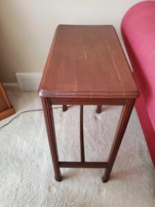 "Vintage end table. 22 x 12 x 25"" tall."