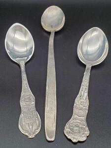 3 small Sterling spoons weighing 42 grams.