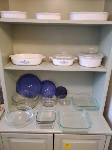 Grouping of Corelle Ware and Pyrex baking dishes.