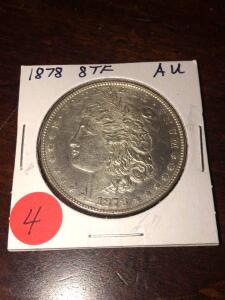 1878 - 8 TKK FEKTHERS, Morgan Silver dollar Almost Uncirculated
