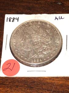 1884 Almost Uncirculated Morgan Silver Dollar