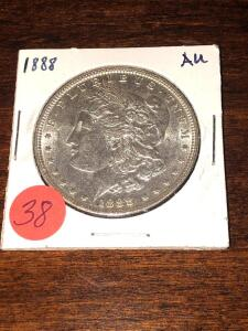 1888 Almost Uncirculated Morgan Silver Dollar