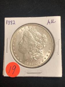 1882 Almost Uncirculated Morgan Silver Dollar