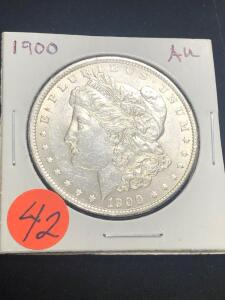 1900 Almost Uncirculated Morgan Silver Dollar