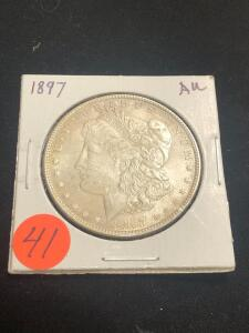 1897 Almost Uncirculated Morgan Silver Dollar