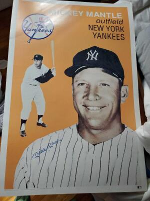 Mickey mantle signed poster with a letter from a forensic expert