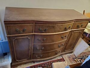 "A vintage ""very sturdy"" chest of drawer, *note, contents are not included"