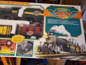 "New, unopened in box, ""electric g scale set,"" model train set"
