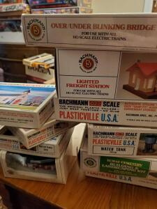 A grouping of bachmann train decorations, review pics for specifics