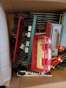 2 boxes of model train items