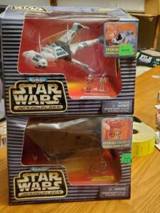 2 micromachines star wars action fleet figures;b-wing Starfighter and jawa sandcrawler