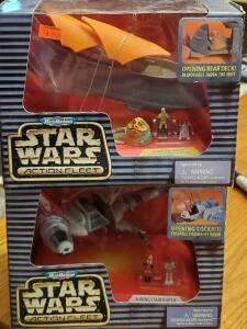 2 micromachines star wars action fleet figures; jabba's sail barge, and b-wing Starfighter