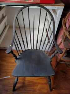 "A grouping of chairs, including A very sturdy vintage chair (1 broken rod), back is 42"" tall"