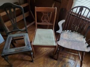 "At least 4 very old ""project"" chairs, notice the small folding table"