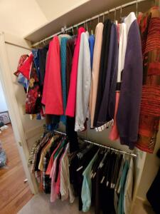 Two rods in closet of quality ladies petite clothes. Sizes are basically 14 petite and large.