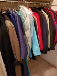 Wonderful grouping of ladies coats, jackets, and some formal Wear.