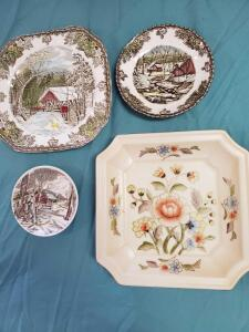 Decorative items including plates by Johnson Brothers, andrea, and other items as pictured.