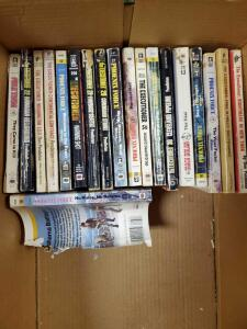 A box of books in the garage.