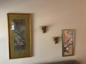 Two oriental influenced prints and two small sconces