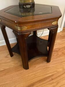Glass top 6 leg end table