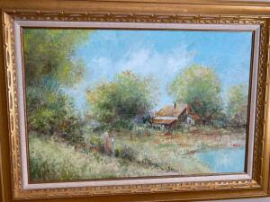 Beautifully framed oil painting on canvas