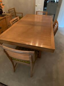 American Shantung Mahogany dining table and 5 side chairs and 1 arm chair