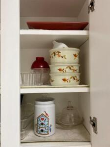 Dishes in several cabinets