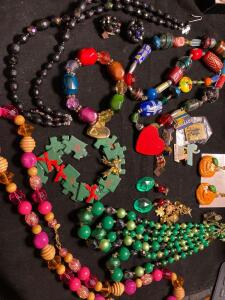 Large collection of colorful costume jewelry