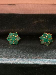 14 K and emerald earrings