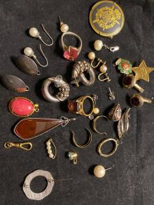 Large collection of costume jewelry some 14 karat gold some sterling some gold filled and costume