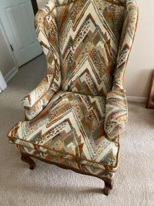 Wing back chair with oak trim