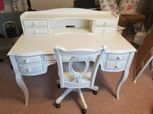 Outlook International white desk, with hutch and chair with wheels