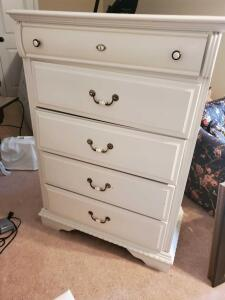 Vintage White 5-drawer chest of drawers