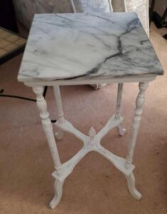 "A white marble-topped accent table/plant stand, 28"" tall, 14 x 14 top"