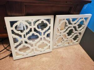 "A pair of 14"" white, mirrored wall decor"