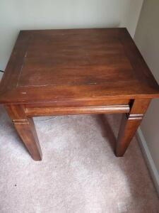 "Vintage wooden end table, 23"" tall, the top is 22 x 24"