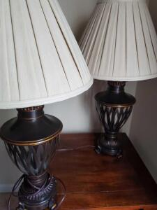"A matching pair of table lamps, 32"" tall"