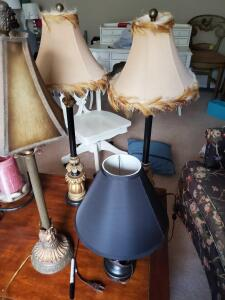 "A grouping of 4 lamps, 2 are matching (30""tall)"
