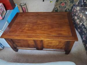 "A lift-top coffee table, 19"" tall, 41"" across, 26"" front to back"
