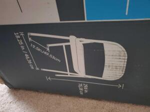 New in the box, 4 folding chairs (see pics for sizes)