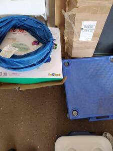 Dog agility training course items.