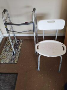 Adjustable Shower chair and folding Walker.