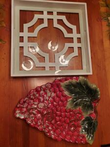 Strawberry platter and square glass bottom serving tray.