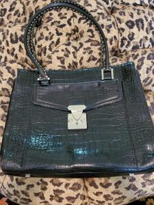 Antonio Melani black croc imbossed hand bag.