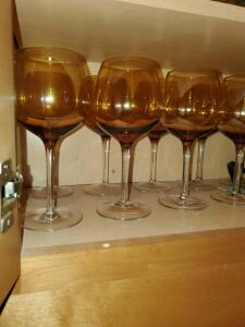 Beautiful iridescent wine glasses. 12 stems and 2 stemless.