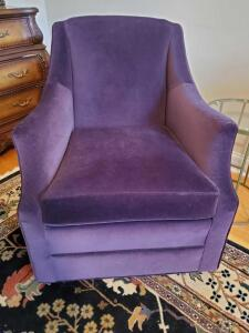Dark plum swivel chair. 26w x 35t x-33 deep. Seat height is 19.